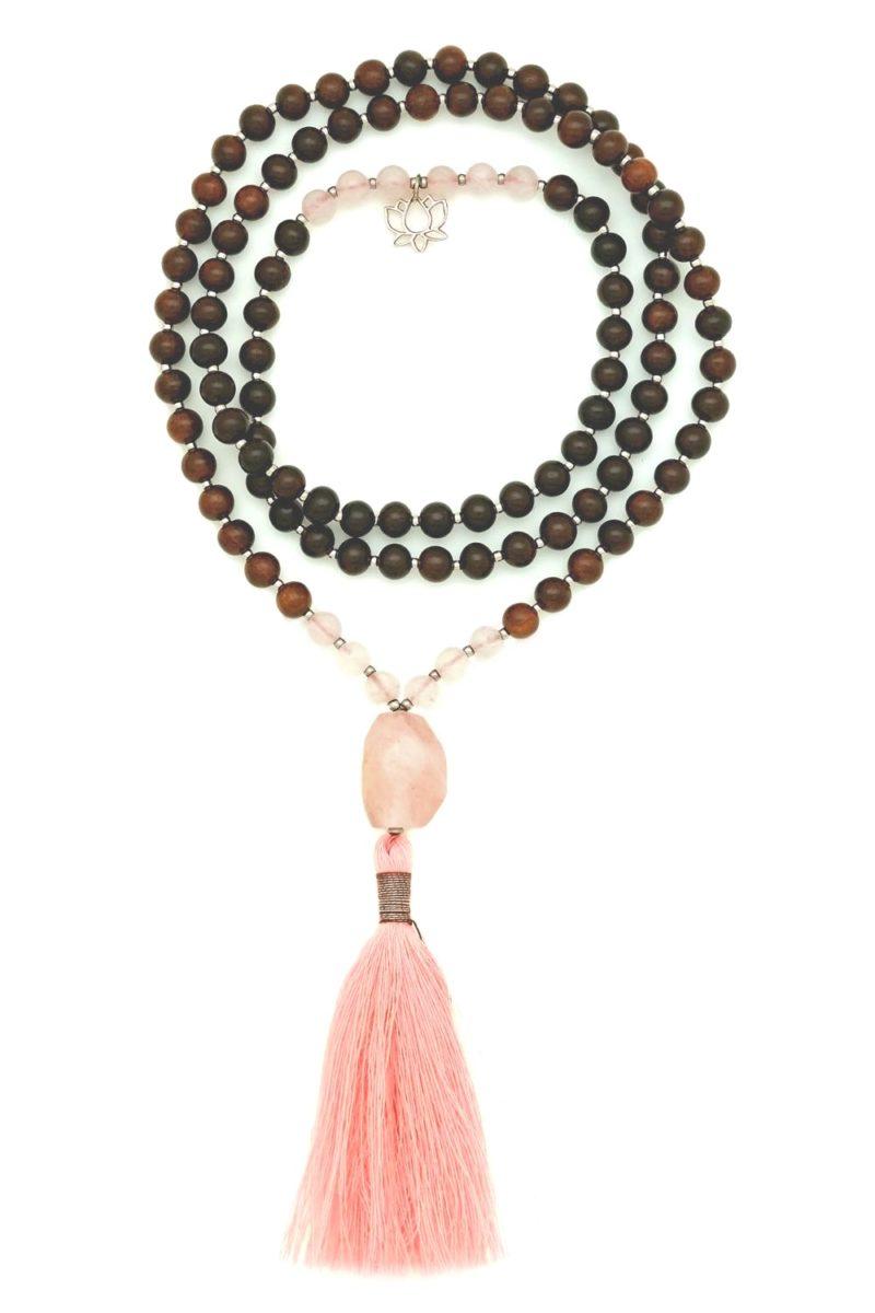 rose quartz rosewood prayer beads w lotus charm
