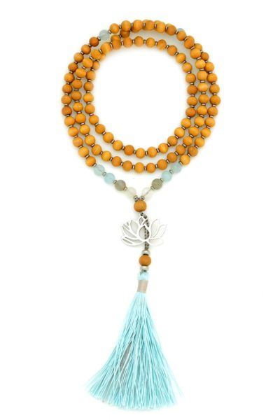 sandalwood blue lotus prayer beads