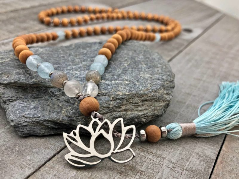 sandalwood blue steel lotus mala
