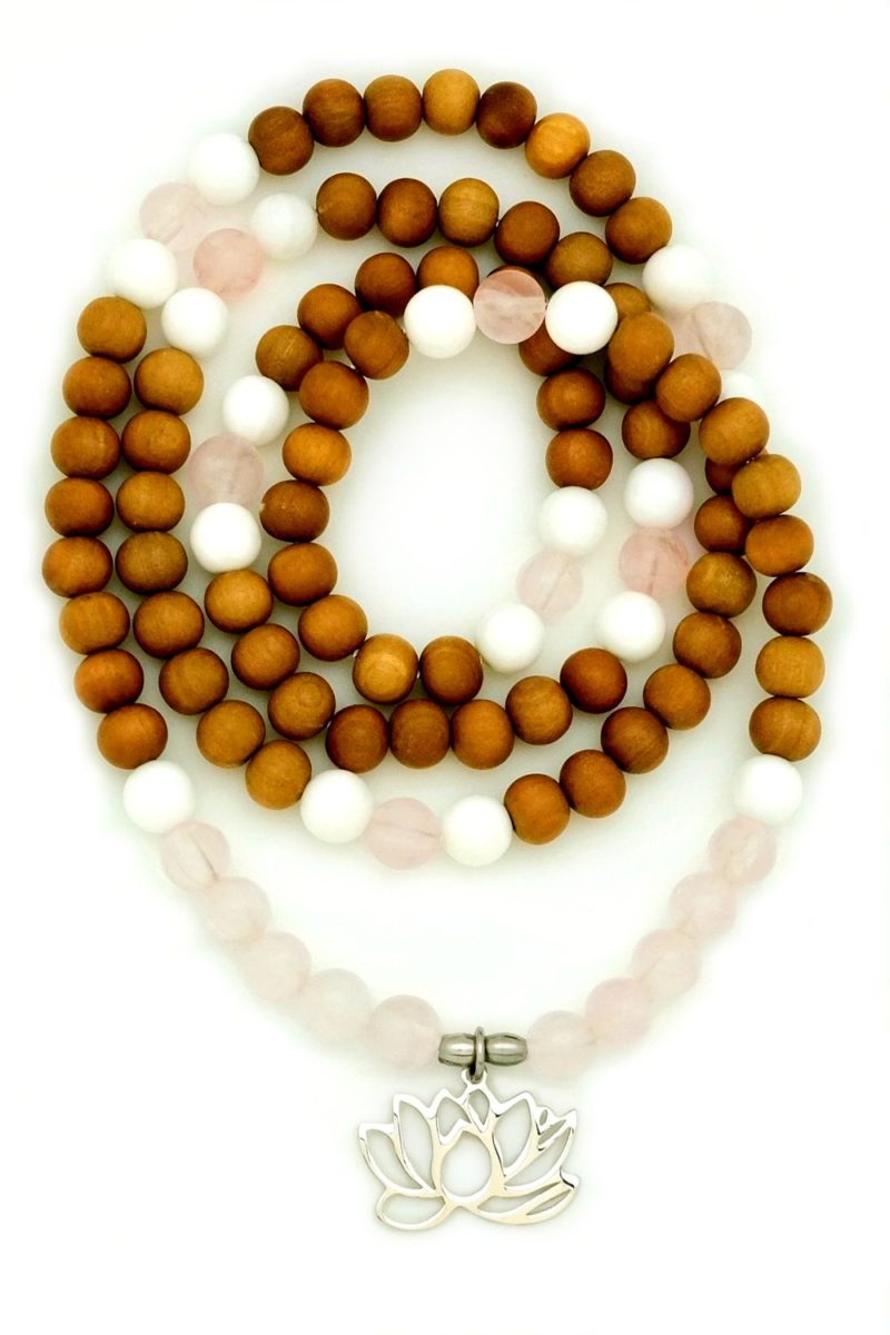 sandalwood lotus wrap mala