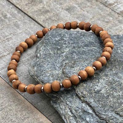 sandalwood silver spacer 4mm stretch bracelet