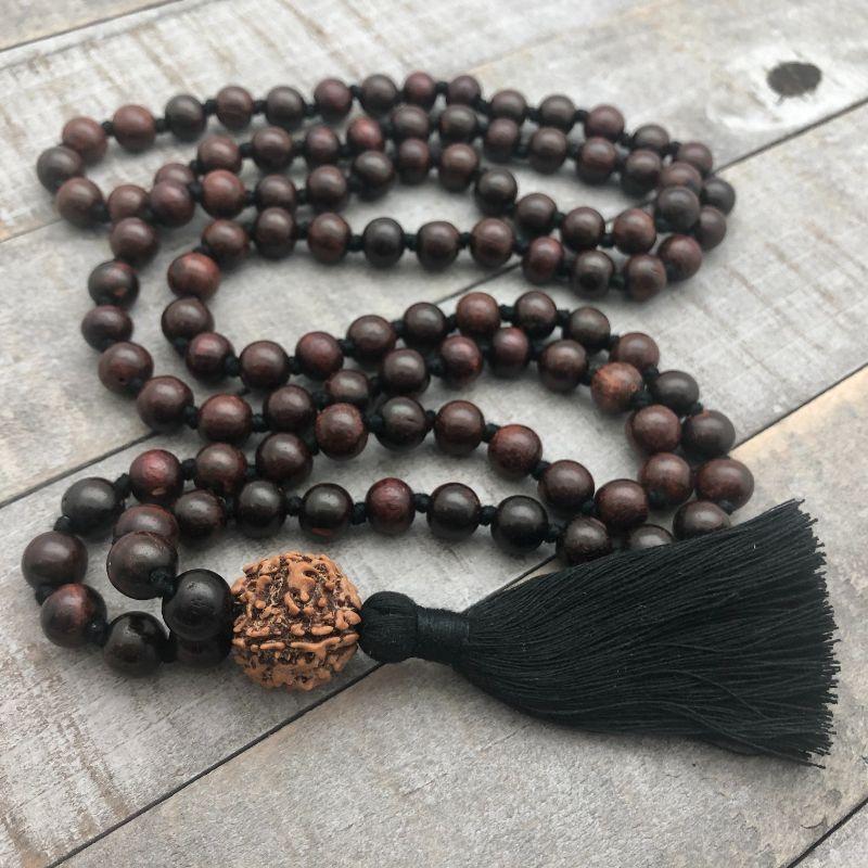shiva mala with rosewood & rudraksha