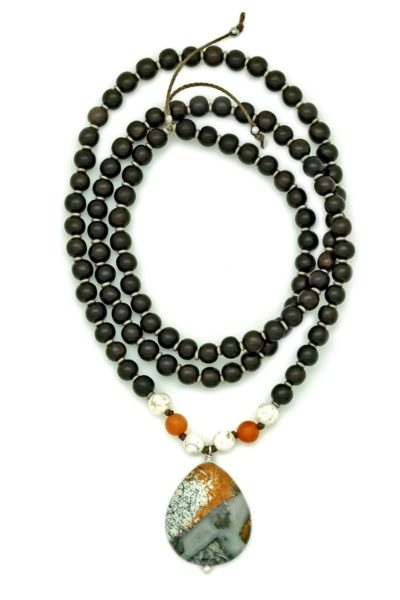 silver leaf jasper prayer necklace