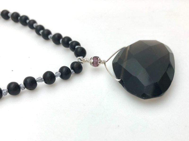 smoky quartz faceted teardrop pendant