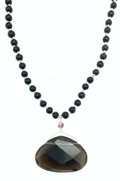 smoky quartz necklace on ebony beads
