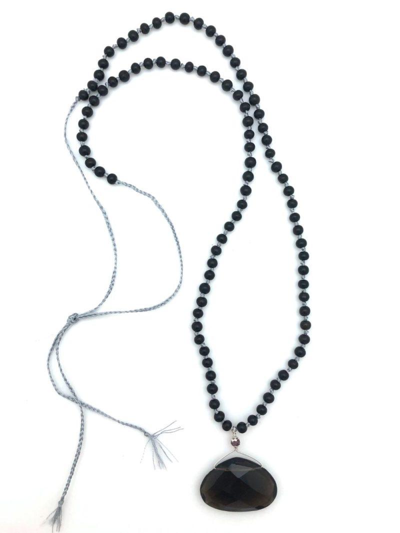 smoky quartz teardrop beaded necklace full