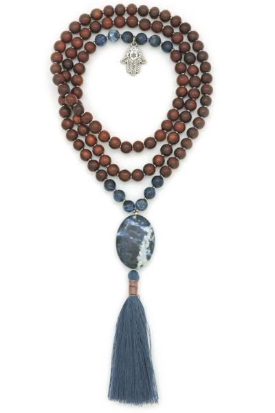 sodalite rosewood hamsa prayer bead mala