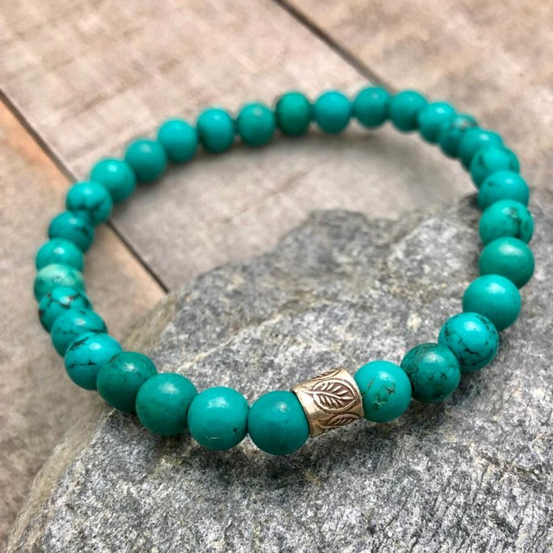 turquoise bracelet with thai silver leaf bead