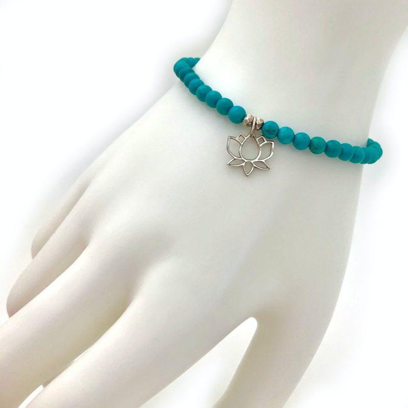 turquoise lotus bracelet worn