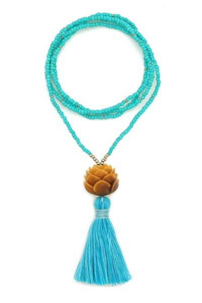 turquoise lotus tassel necklace