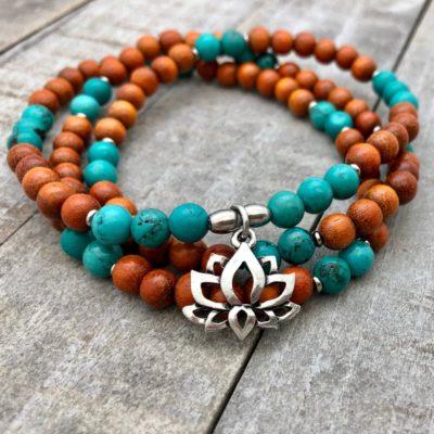 turquoise lotus wrap mala