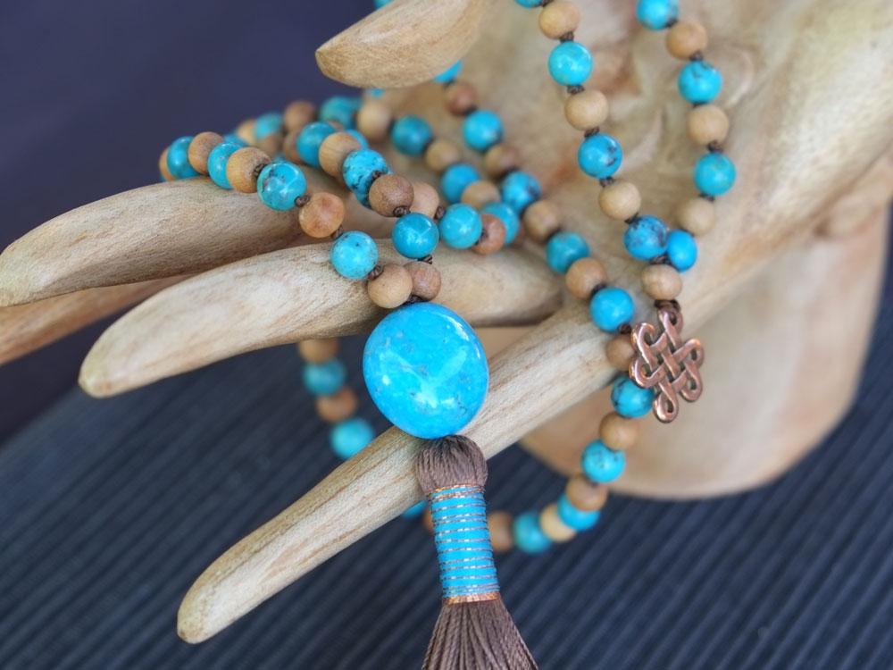 Quality Malas & Jewelry - turquoise sandalwood 1
