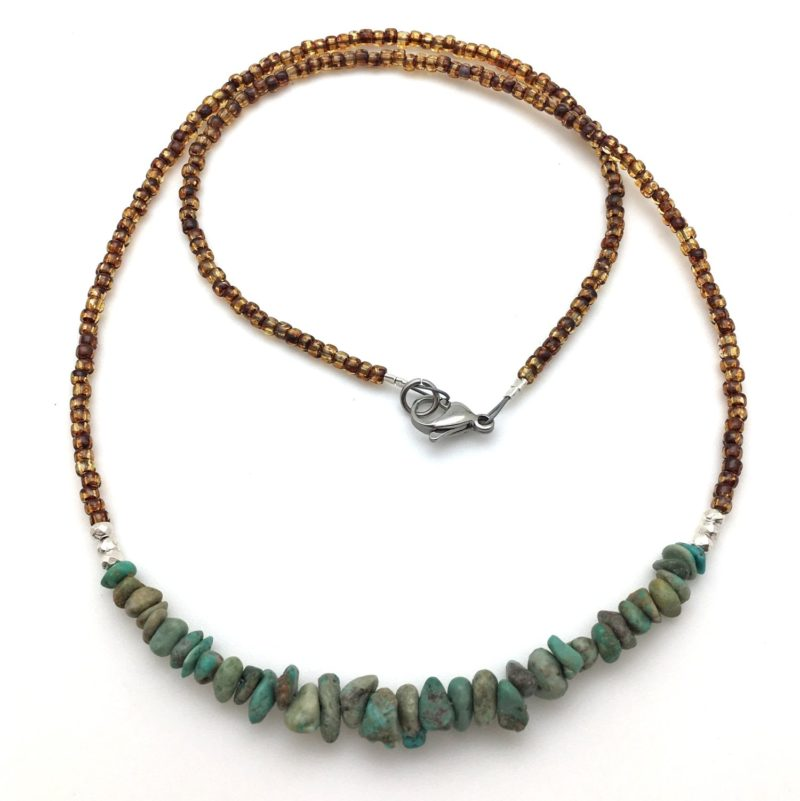 turquoise silver necklace with amber