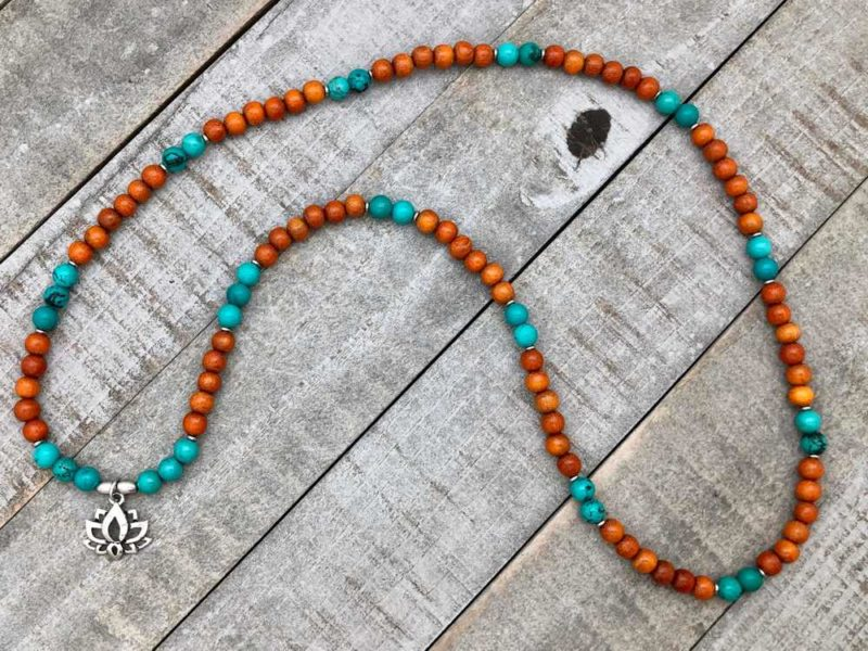 turquoise wood lotus wrap bracelet