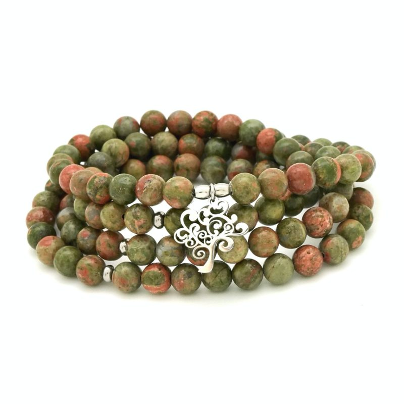 unakite tree wrap mala