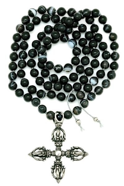 vajra cross black onyx mala