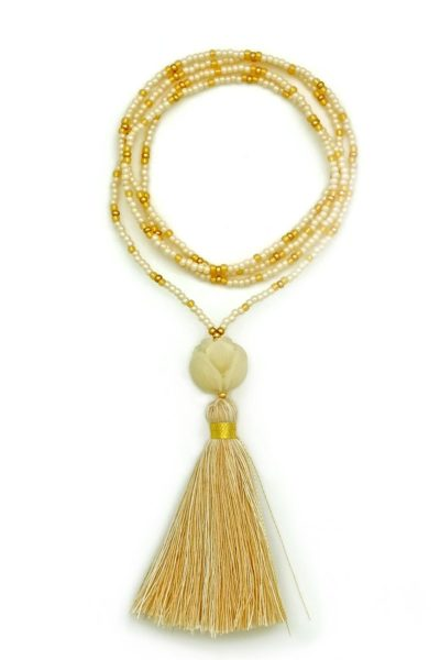 white & gold lotus tassel necklace
