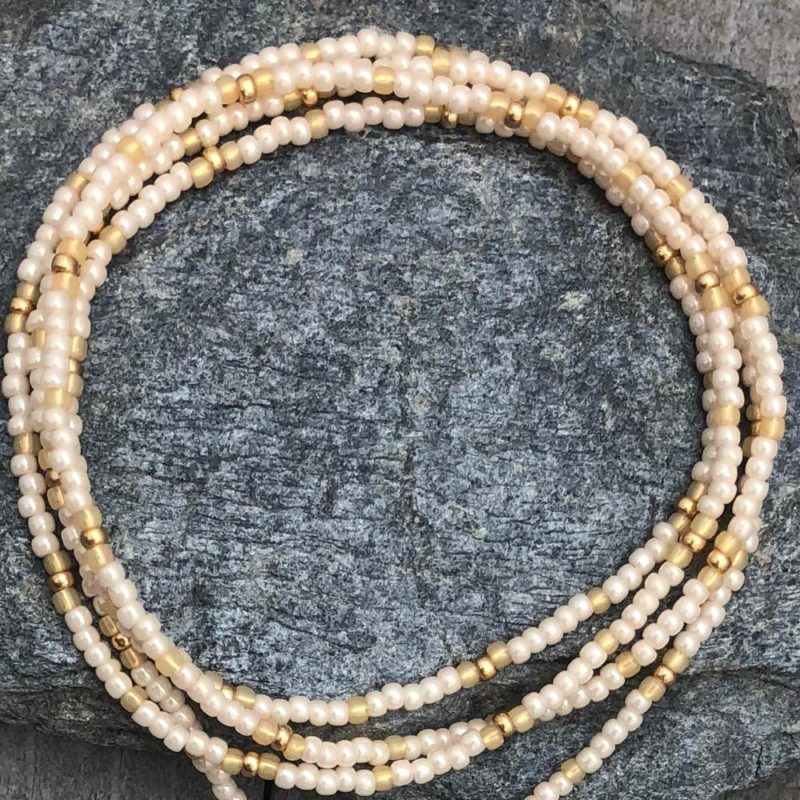 white lotus necklace beads
