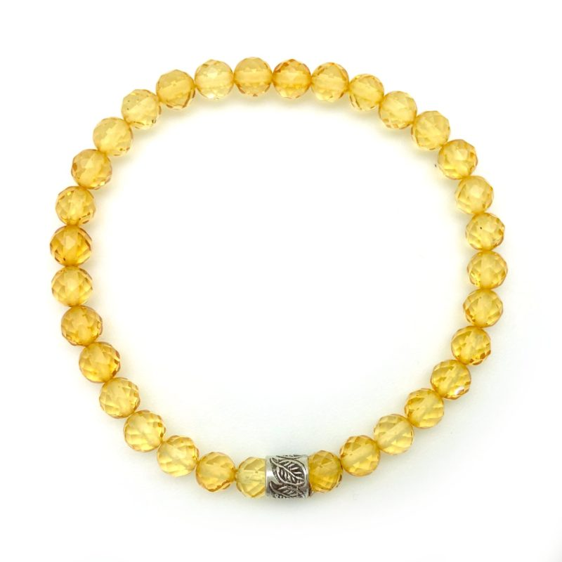 yellow faceted amber bracelet leaf